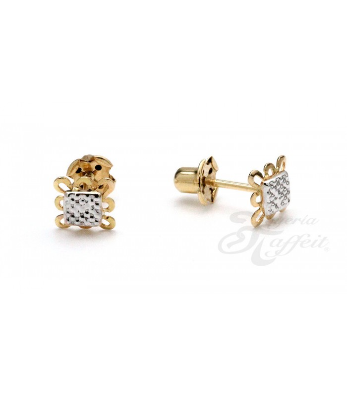 Dual Gold Earrings Girl or Baby, Square, AKR1241 - Taffeit