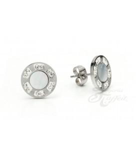 Pendientes de Acero, Circular Blanco Cristal, 7642