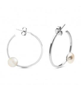 Pendientes en Plata Aros con Perla