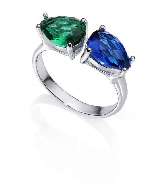 Anillo Plata Viceroy Fashion Señora, Verde y Azul, 9006A012-59
