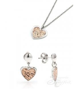 Conjunto Plata, Pendientes y Colgante Corazón Bicolor, JU2781