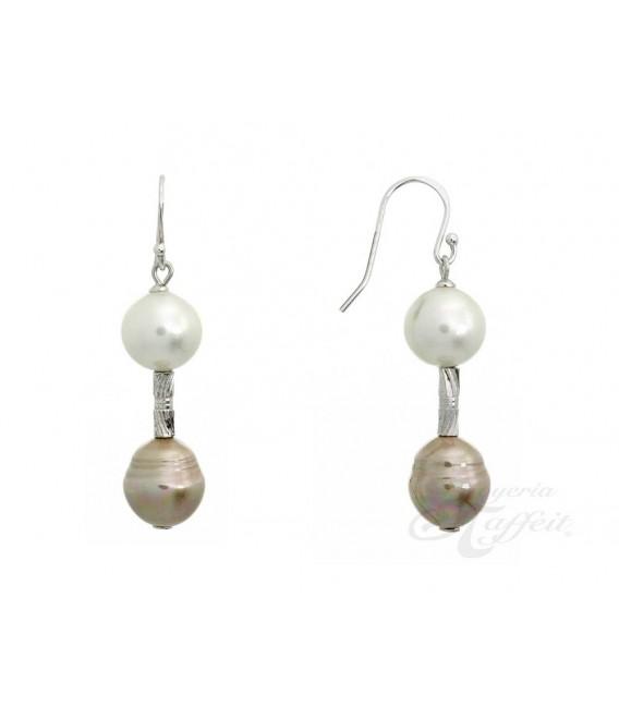 Pendientes Blanco y Cobre Perlas Orquidea