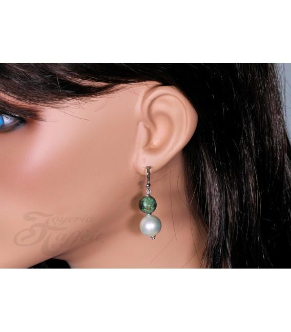 Pendientes Largo Turquoise Perlas Orquidea