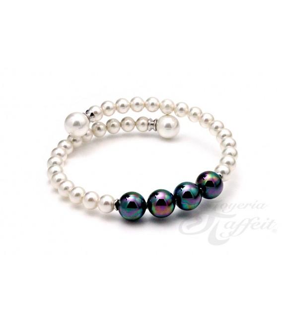 Pulsera Señora Perlas Orquidea, Negra y Blanca, 46168
