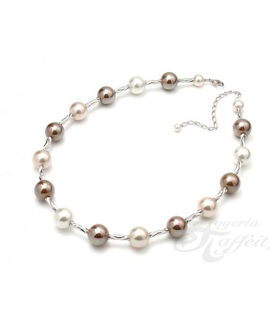 Collar Señora Perlas Orquidea, Blanco y Cobre, 49447