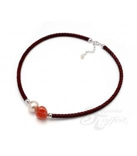 Collar Señora Perlas Orquidea, Piel Cornalina, 46183