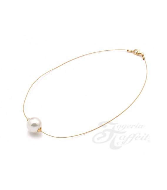 Collar Señora Perlas Orquidea, Dorado Blanco, 46289CH