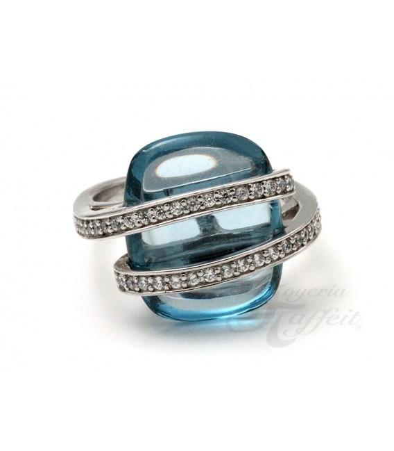 Anillo Cristal Azul y Circonitas en Plata