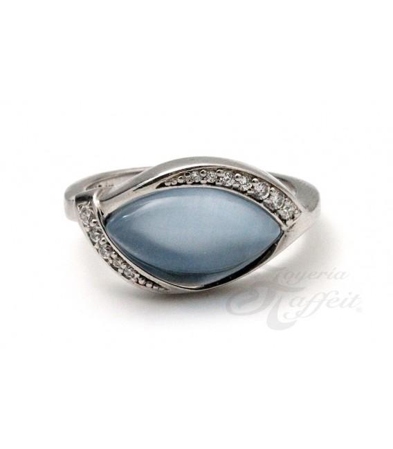 Anillo Circonitas y Cristal Azul en Plata