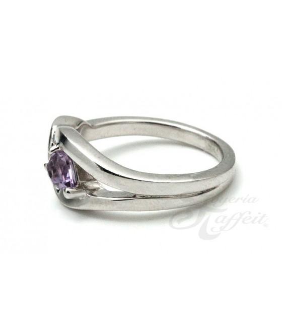 Anillo Cristal Violeta en Plata
