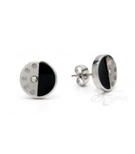 Pendientes de Acero, Circular Negro Cristal, 7628