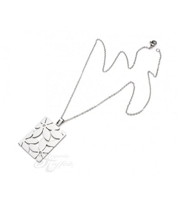 Conjunto Colgante y Pendientes de Acero, Flor, 7874