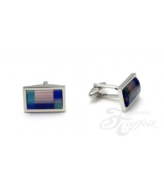 Gemelos Acero Caballero, Rectangular Azules, TF286