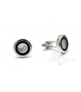 Gemelos Acero Caballero, Circular Blanco y Negro, TF282