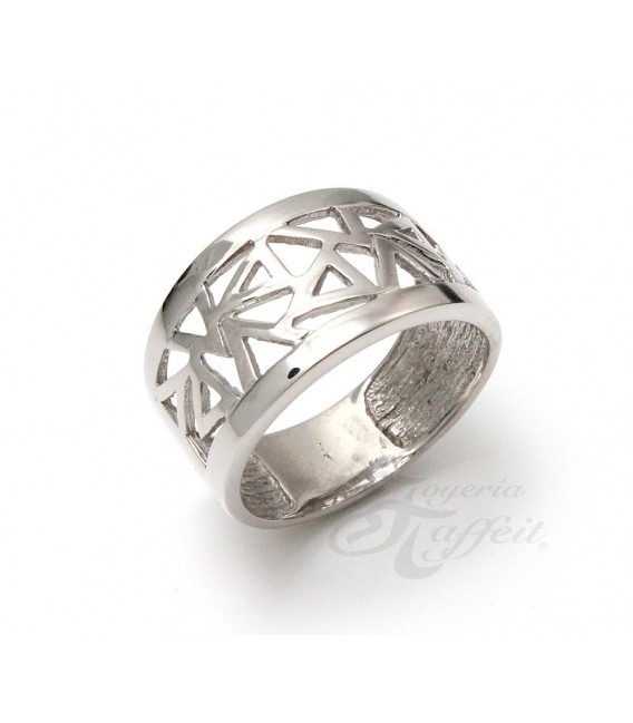 Anillo Recortes Triangular, Plata