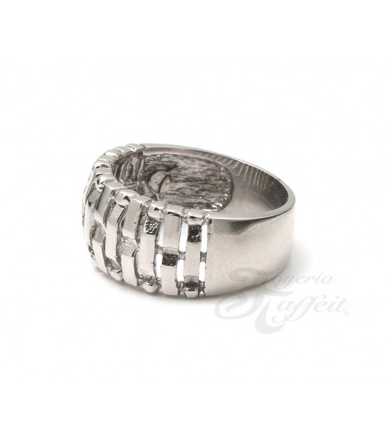 Anillo Recortes Rectangular en Plata