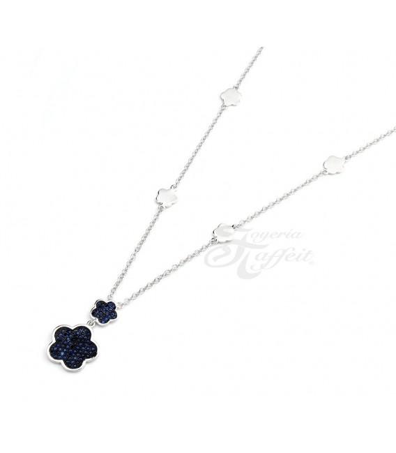 Conjunto Plata, Pendientes y Colgante Flores Circonitas, JU2847/04