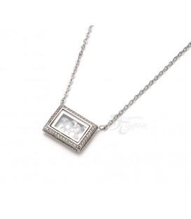Colgante Rectangular Cristales en Plata