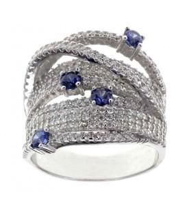 Anillo LineArgent Circonitas y Cristales Azules Plata