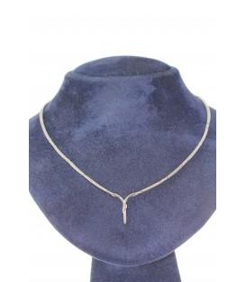 Collar Oro Blanco Señora con Diamantes, akr382
