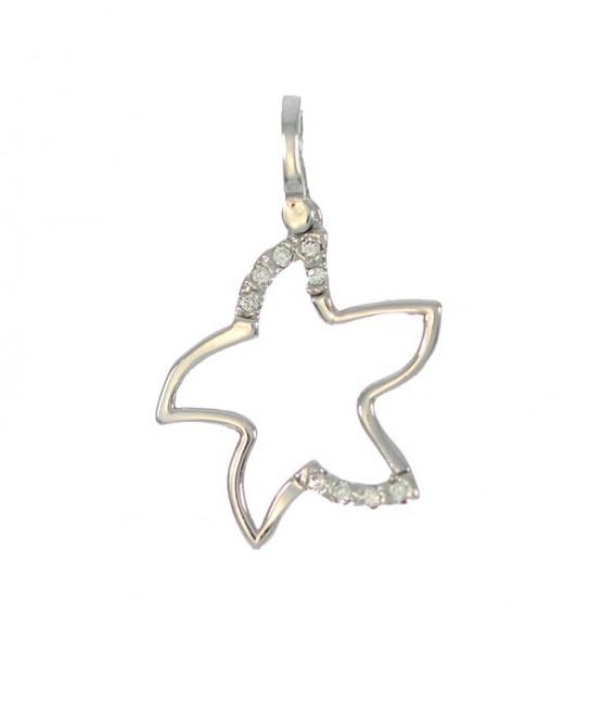 Colgante Oro Blanco Señora Circonitas Estrella, akr630