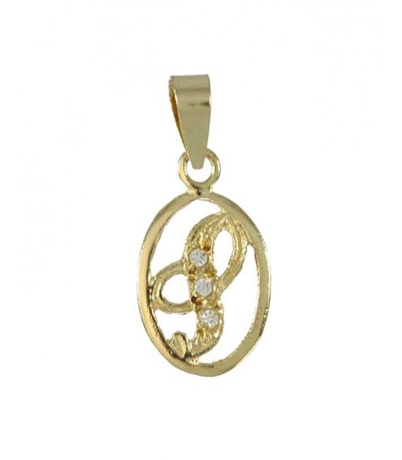 Colgante Oro Señora Circonitas Inicial S, akr577