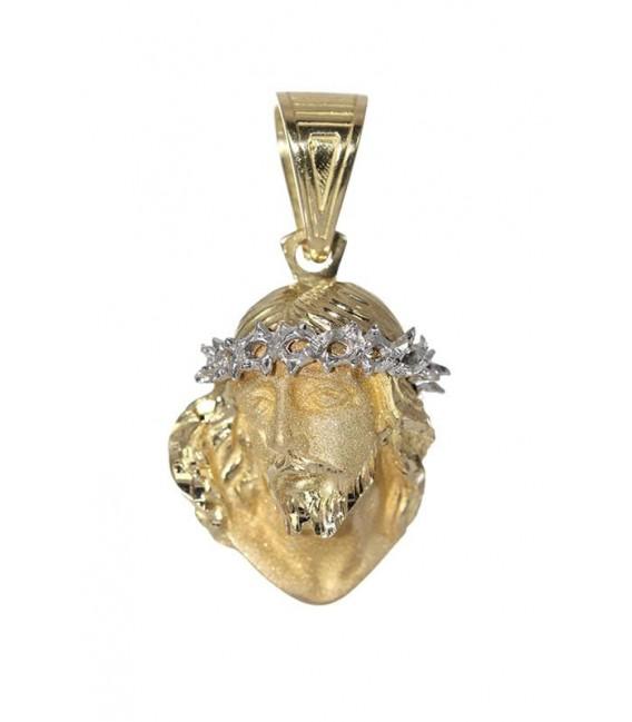 Colgante Oro Caballero Bicolor Cara de Cristo, cam1094