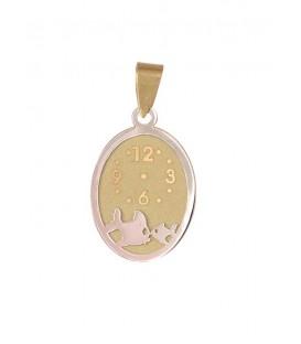 Medalla Oro Bebé Bicolor Reloj Pez, meg1175