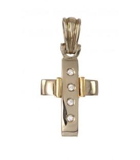 Cruz Oro Señora Bicolor con Circonitas, pas64