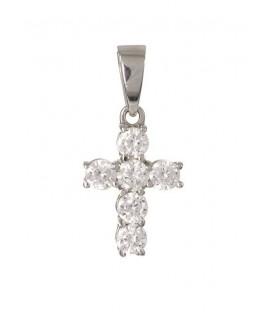 Cruz Oro Blanco Señora con Circonitas, cam855