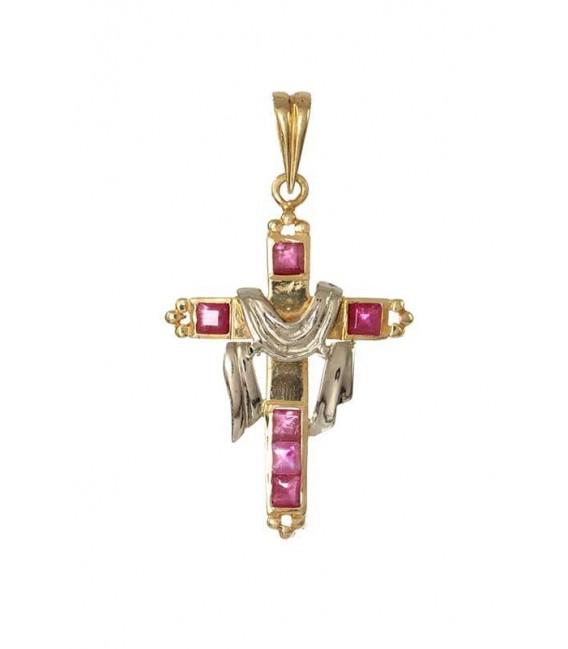 Cruz Oro Señora Bicolor con Rubíes Sudario, est19
