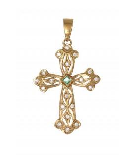 Cruz Oro Señora con Esmeralda y Circonitas, ped39