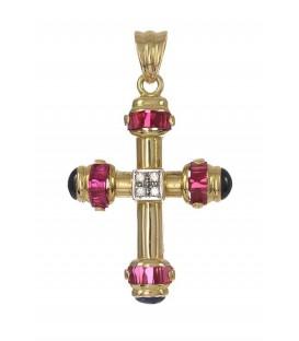 Cruz Oro Señora Bicolor Circonitas, Rubíes y Zafiros, cam136