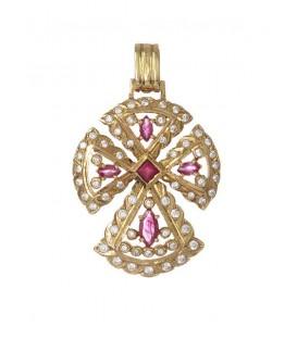 Cruz Oro Señora con Rubíes y Circonitas, ped57