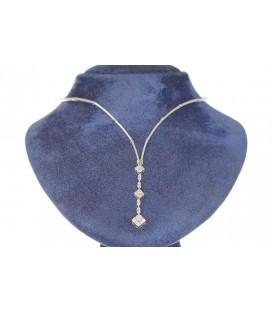Collar Oro Blanco Señora con Circonitas, akr828