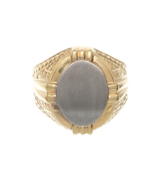 Anillo Oro Caballero Bicolor Sello, akr193