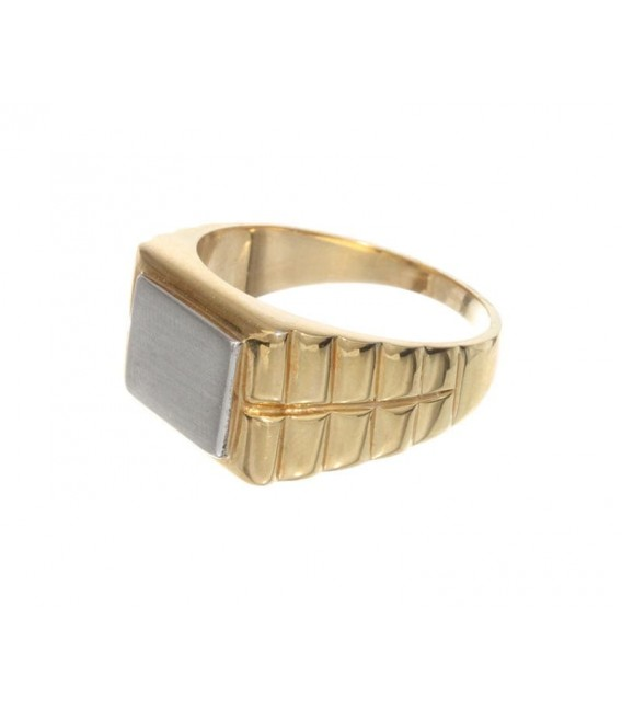 Anillo Oro Caballero Bicolor Sello, akr237
