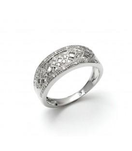 Anillo Oro Blanco Señora Diamantes, sr341