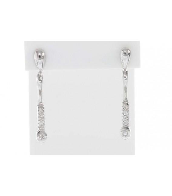 Pendientes Oro Blanco Señora Largo Diamantes, akr375