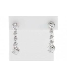 Pendientes Oro Blanco Señora Largo Diamantes, sr736