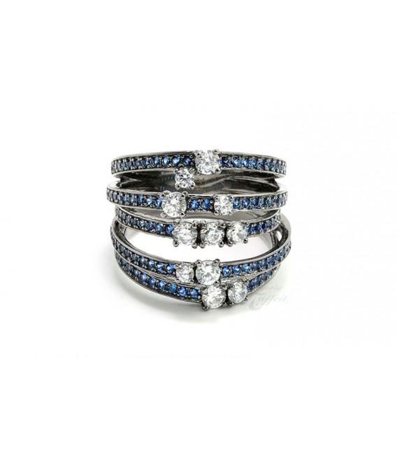 Triple Anillo con Cristales Azul Zafiro y Circonitas en Plata