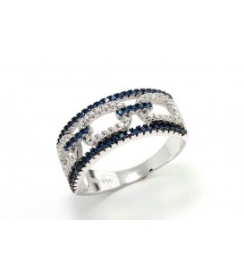 Anillo con Cristales Azul Zafiro y Circonitas Plata