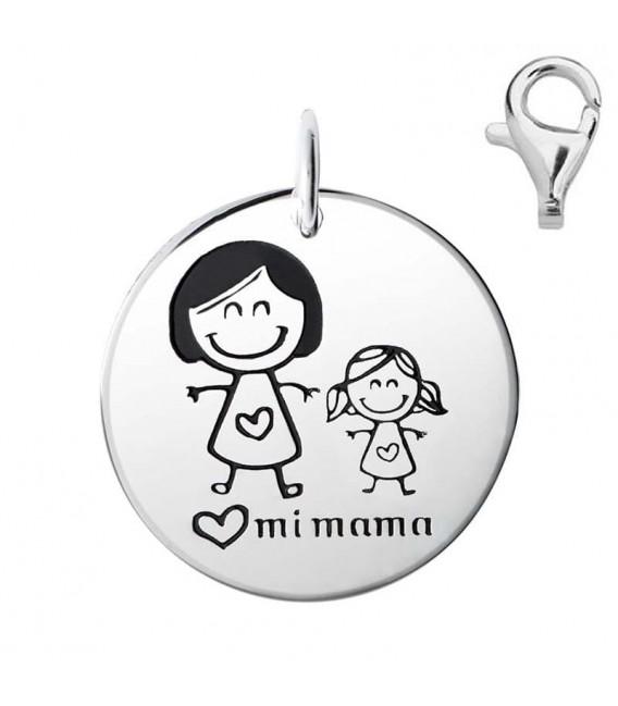 Colgante Dije Plata, Mamá con Niña