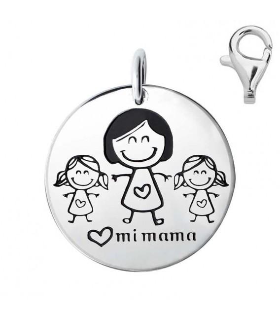 Colgante Dije Plata Mamá y Dos Niñas