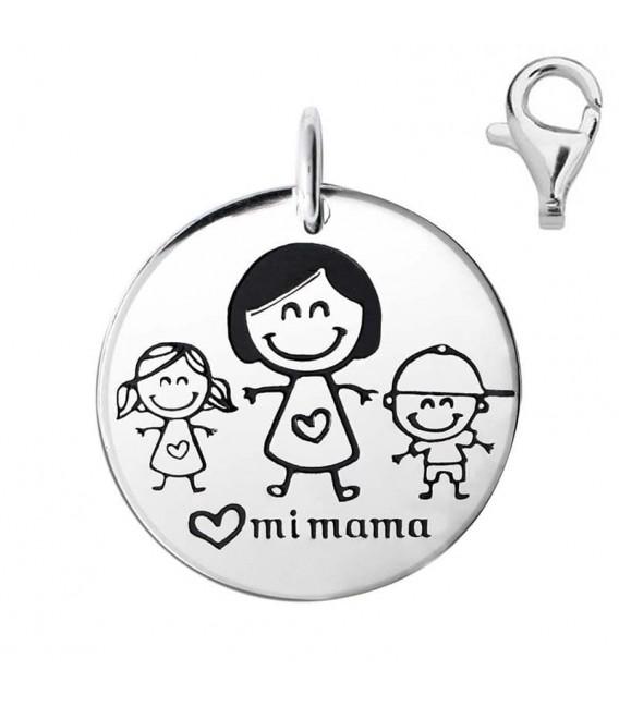 Colgante Dije Plata Mamá con Niña y Niño