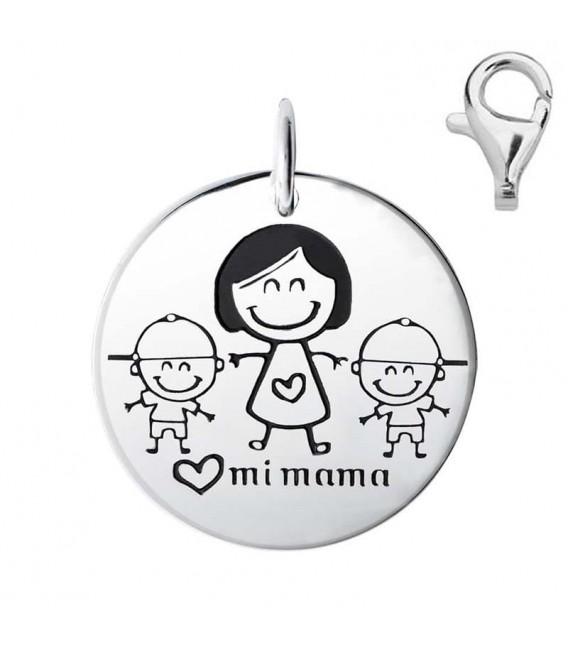 Colgante Dije Plata Mamá y Dos Niños