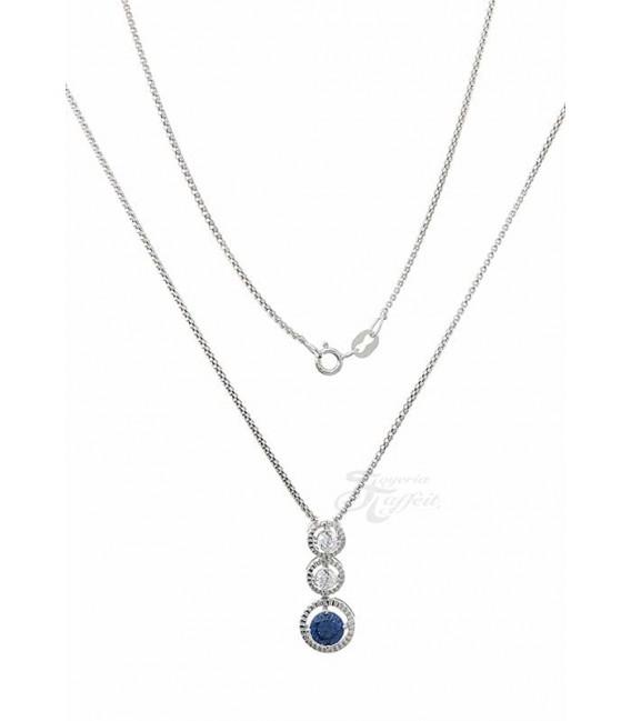 Conjunto Plata con Rodio y Circonitas, Azul Zafiro