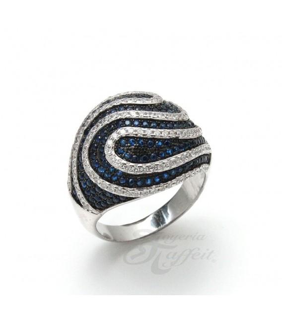 Anillo Espiral Azul de Plata
