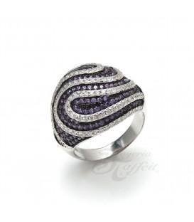 Anillo Espiral Púrpura en Plata
