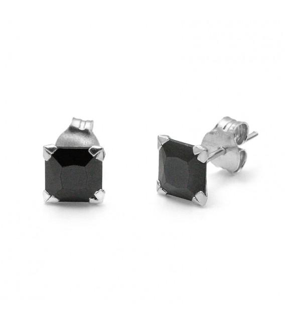 Pendientes Cristal Cuadrado Negro en Plata